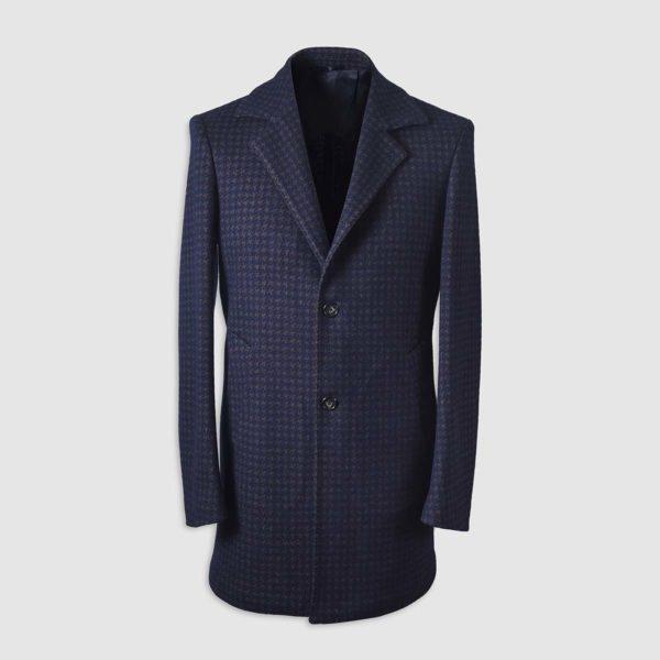 Pied De Poule Long Wool Coat