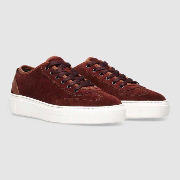 Sneaker in morbido vitello rosso