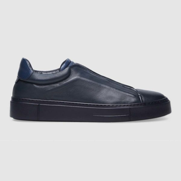 Sneaker slip on in vitello total blu