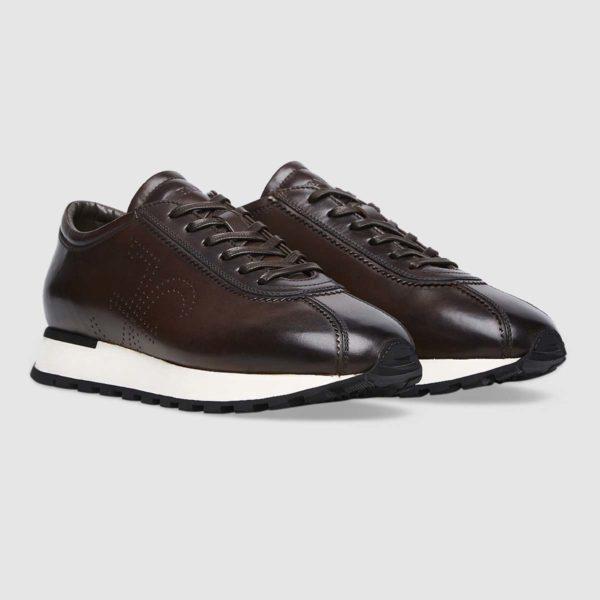Sneaker logo Fabi in pregiato vitello marrone