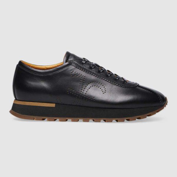 Sneaker logo Fabi in pregiato vitello nero