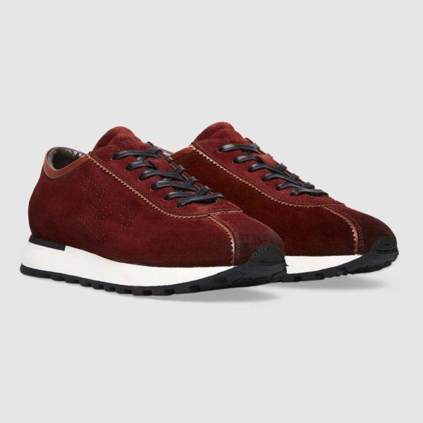 Sneaker logo Fabi in pregiato vitello scamosciato rosso