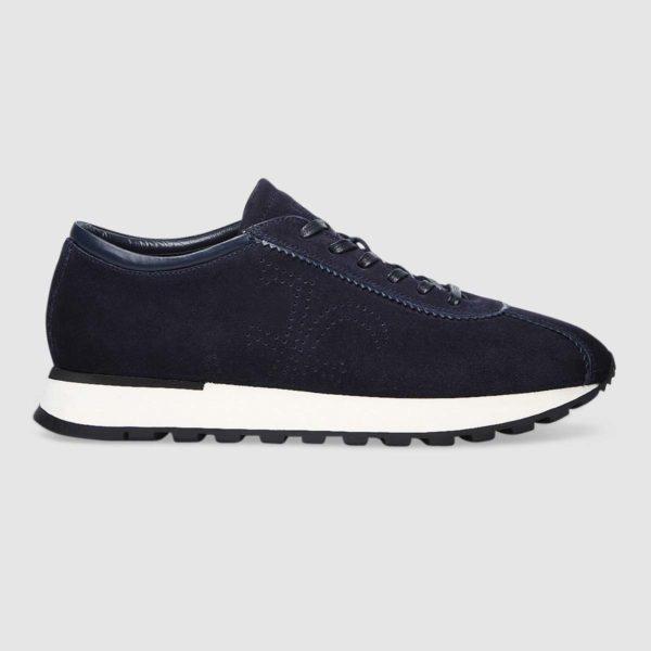 Sneaker logo Fabi in pregiato vitello scamosciato blu