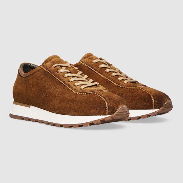 Sneaker logo Fabi in pregiato vitello scamosciato marrone chiaro