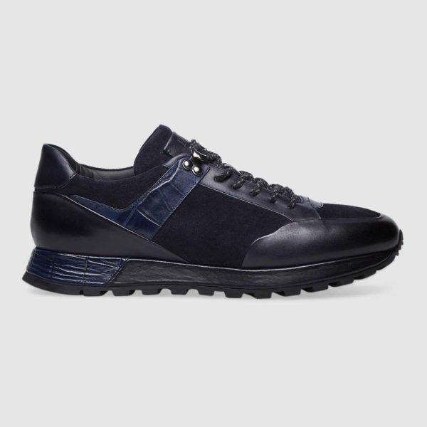 Trekking sneakers in blue suede calfskin with printed, contrasting-colour inserts