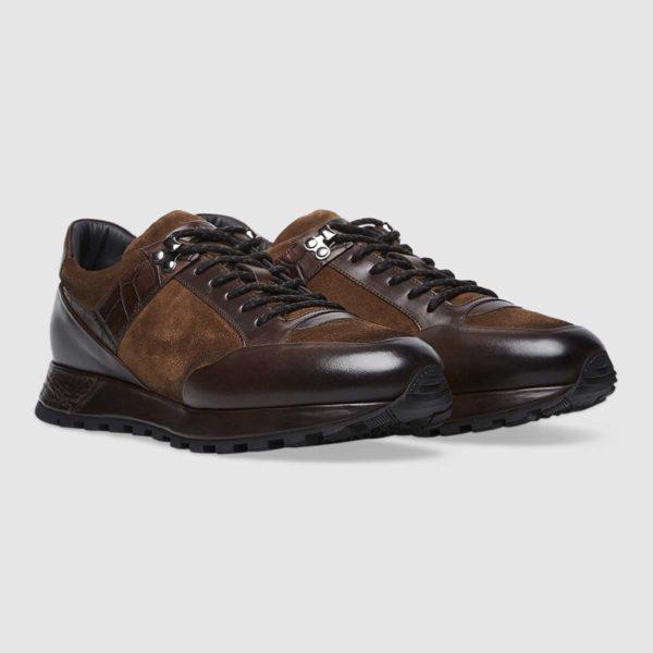 Sneaker Stile Trekking in vitello lisco tamponato marrone