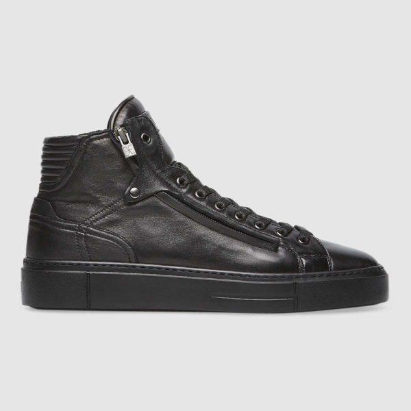 Sneaker con zip in nappa nera