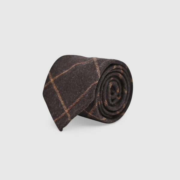 100% Checked Wool Tie
