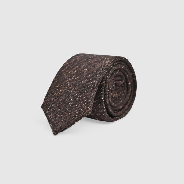 100% Brown/White Mélange Wool Tie