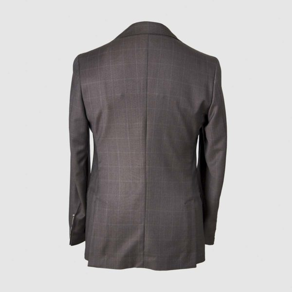 Anthracite Grey Windowpane Pattern Blazer in 130s Four Seasons Wool