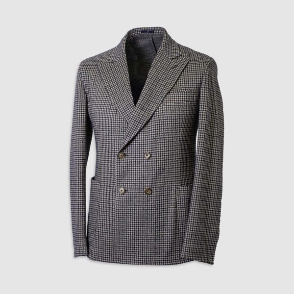One And a Half-Breasted Blazer in Pied-De-Poule Wool