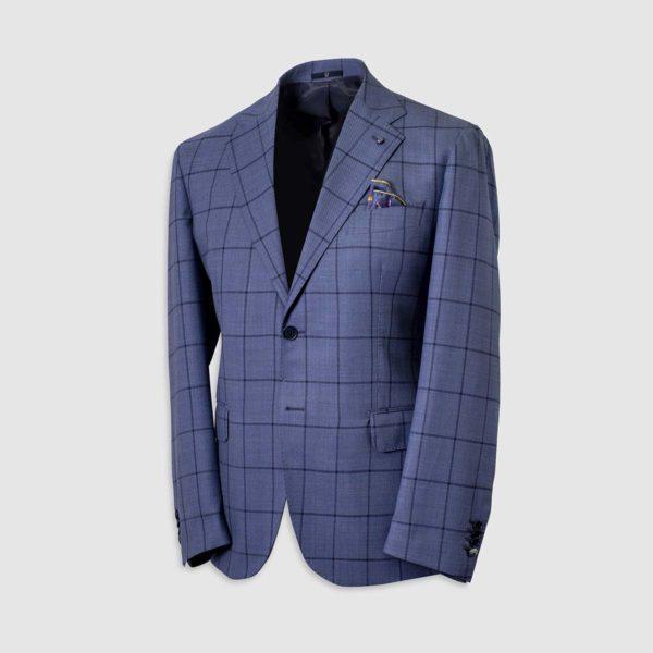 Single-Breasted Blazer in Blue Four Seasons Wool