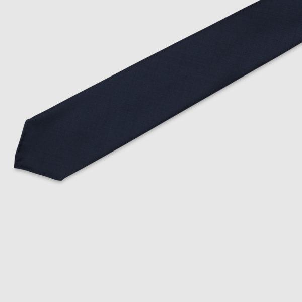 Cravatta 5 Pieghe 100% Lana Blu Notte