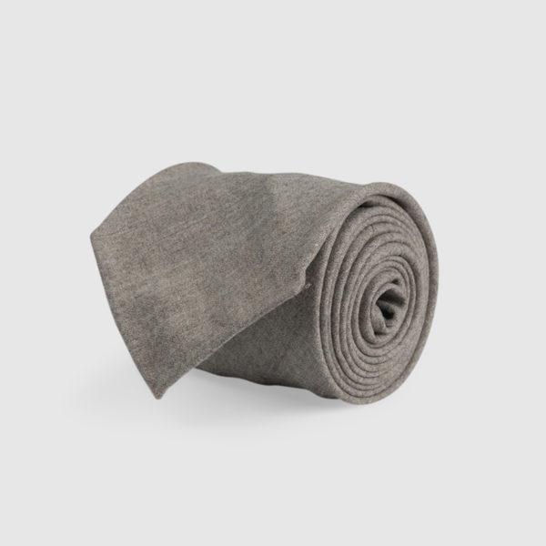 Cravatta 3 Pieghe 100% Lana Grigio Sabbia