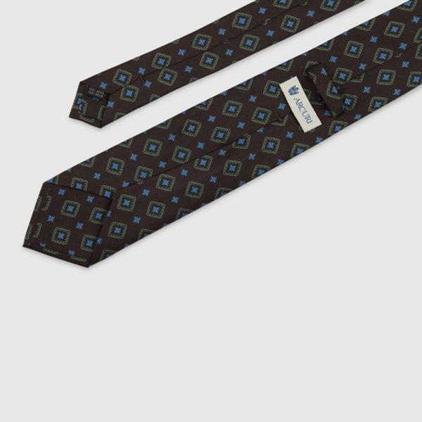 Cravatta 3 Pieghe 100% Seta Marrone Con Fatasia