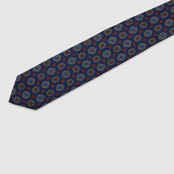 Cravatta 3 Pieghe 100% Seta Blu Con Fatasia