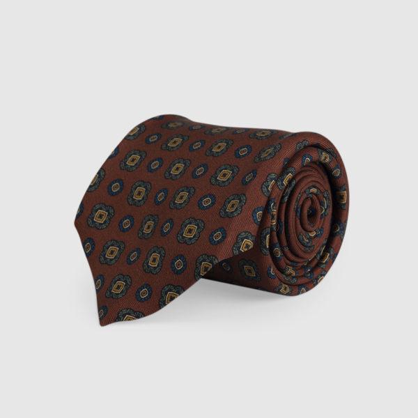 Cravatta 3 Pieghe Seta Ruggine Con Fantasia