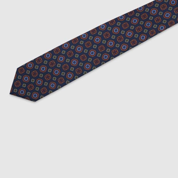 Cravatta 3 Pieghe Seta Blu Con Fatasia