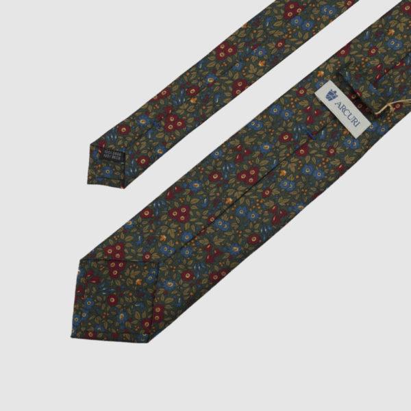 Cravatta 3 Pieghe Seta Verde Con Fantasia