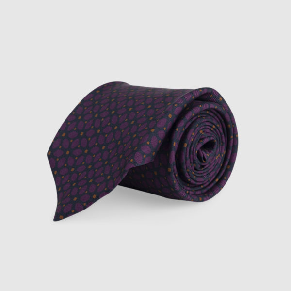 Cravatta 3 Pieghe Seta Bordeaux Con Fantasia