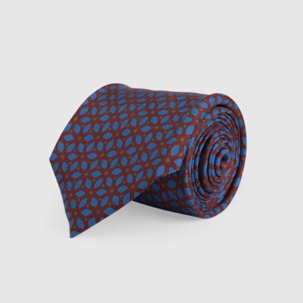 Cravatta 3 Pieghe Seta Ocra Con Fantasia