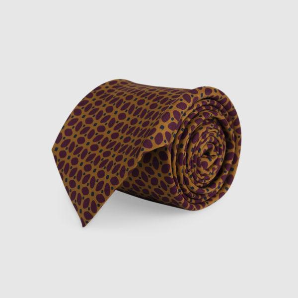 Cravatta 3 Pieghe Seta Marrone Con Fatasia