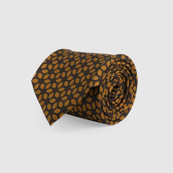 Cravatta 3 Pieghe Seta Marrone Con Fantasia
