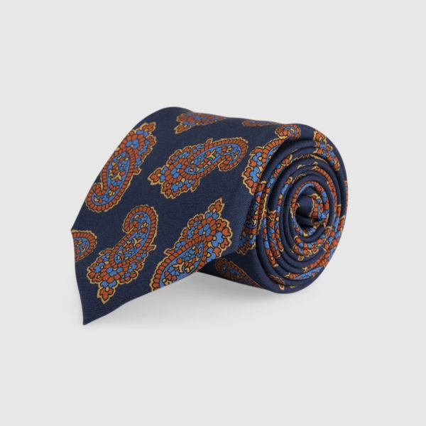 Cravatta 3 Pieghe Seta Blu Con Fantasia