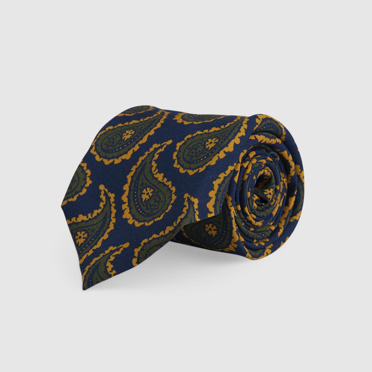 Blue 3-Fold Silk Tie with Kashmir motif