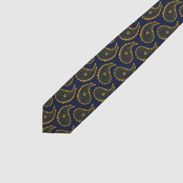 Cravatta 3 Pieghe Seta Blu Con Fantasia Kashmir