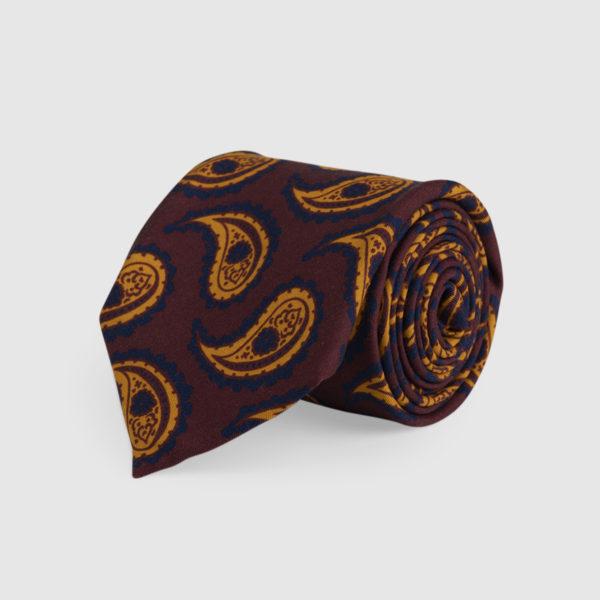 Cravatta 3 Pieghe Seta Mogano Con Fantasia Kashmir