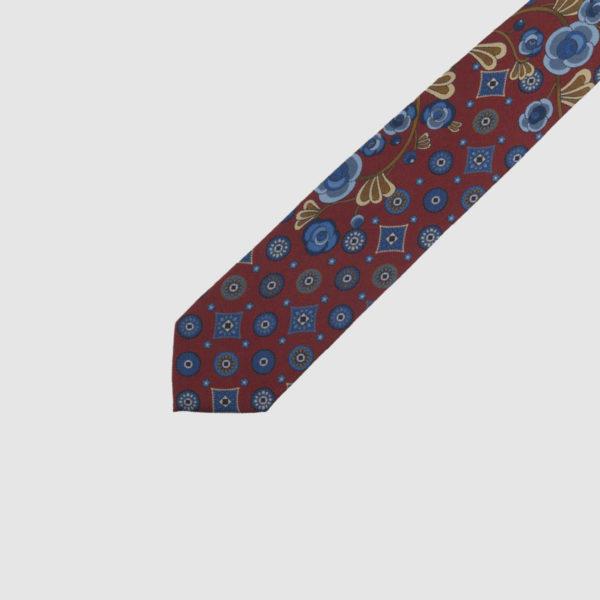 Cravatta 3 Pieghe 100% Seta Rossa Con Fantasia