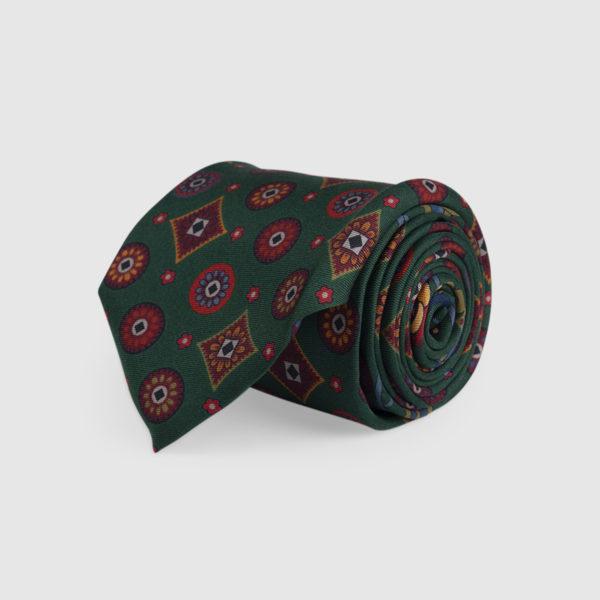 Cravatta 3 Pieghe 100% Seta Verde Con Fantasia