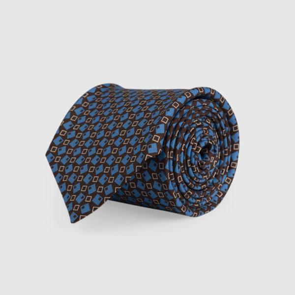 Cravatta 3 Pieghe Seta Marrone E Fantasia Celeste