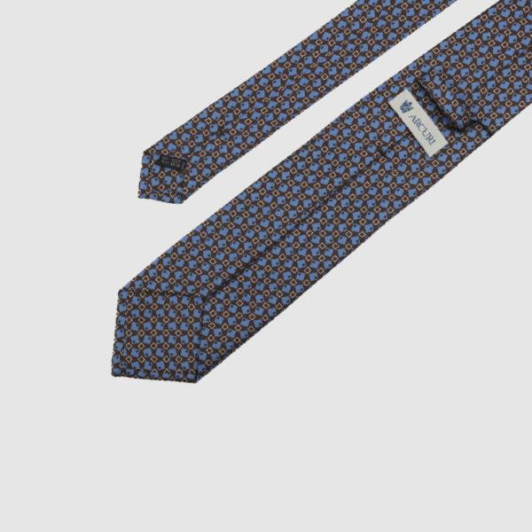 Brown 3-Fold Silk Tie with Blue fantasy