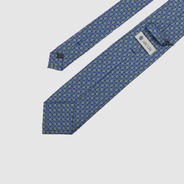 Cravatta 3 Pieghe Seta Blue E Fantasia Verde