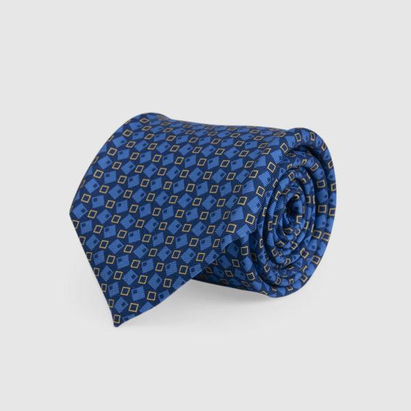Cravatta 3 Pieghe Seta E Fantasia Blu