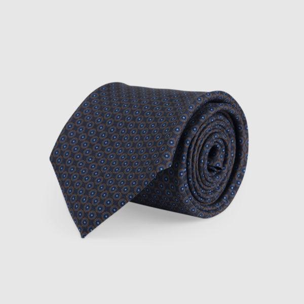 Cravatta 3 Pieghe 100% Seta Blu Notte E Fantasia