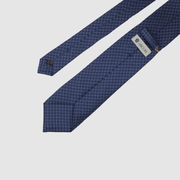 Cravatta 3 Pieghe Con Fantasia In Seta Blu