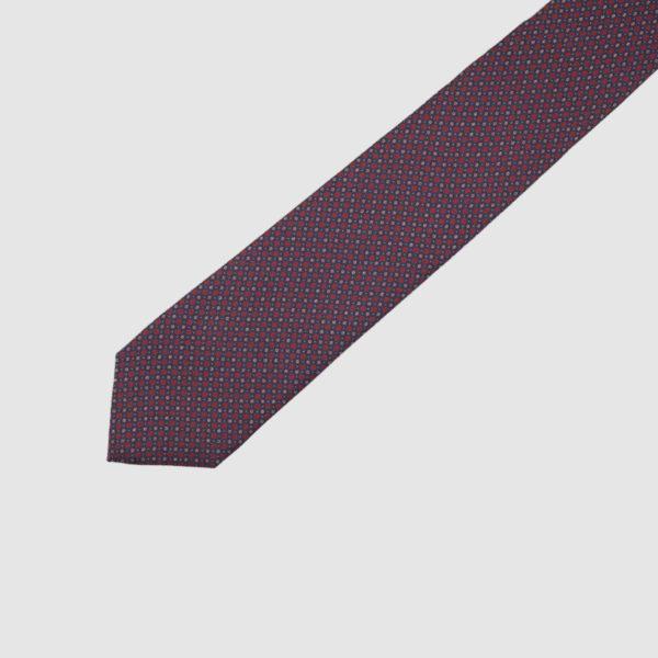 Cravatta 3 Pieghe 100% Seta Blu/rossa