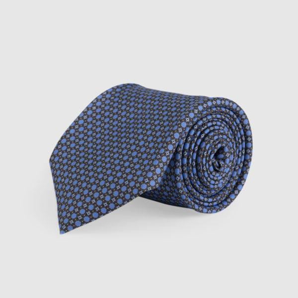 Cravatta 3 Pieghe 100% Seta Marrone/celeste
