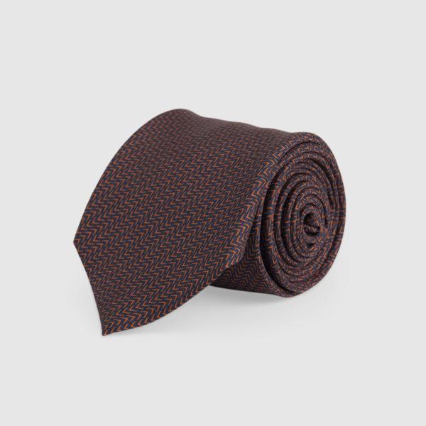 Cravatta 3 Pieghe 100% Seta Blu/arancio Con Fantasia