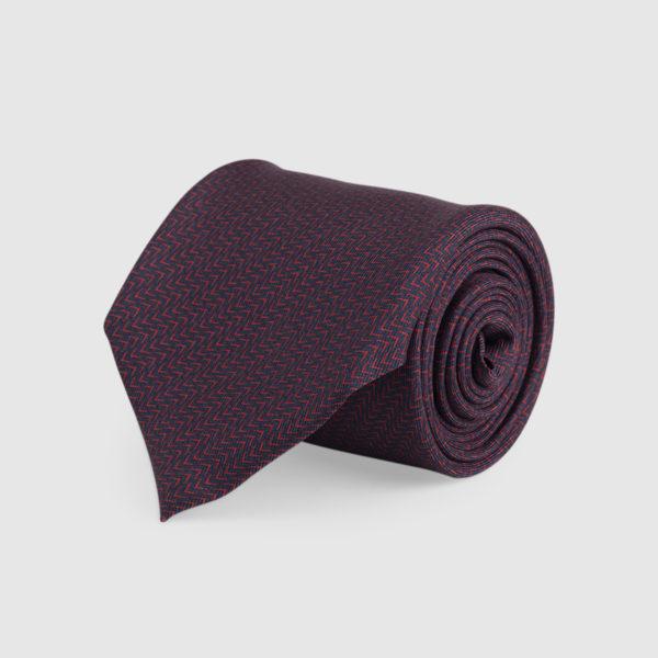 Cravatta 3 Pieghe 100% Seta Blu/rosso Con Fantasia