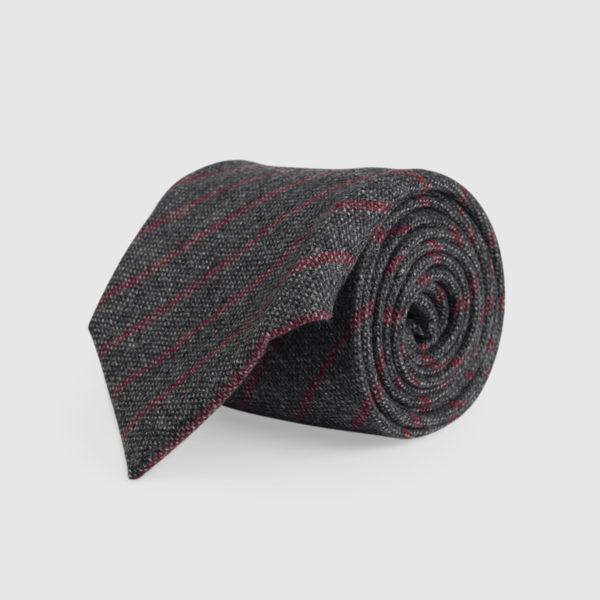 Cravatta 3 Pieghe 100% Cashmere Grigio/rosso