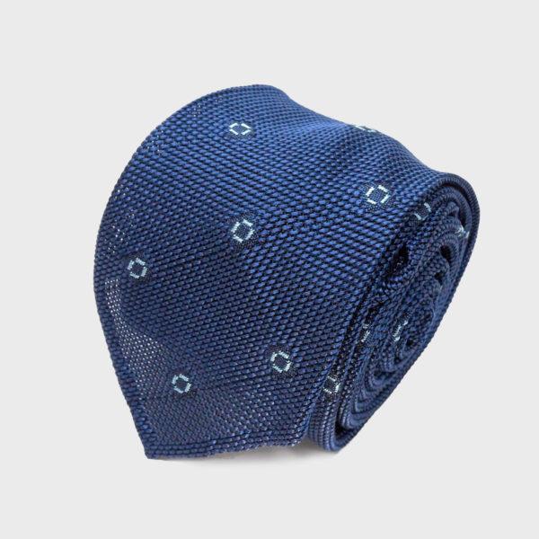 Cravatta Blu A Pois Azzurri In Seta Grenadine