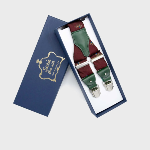 Bretelle In Seta Jacquard Con Motivo Cavalli Bordeaux