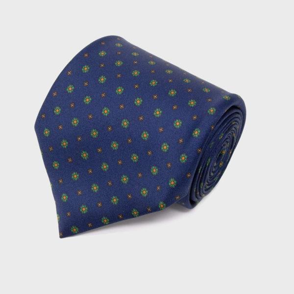 Cravatta In Seta Blu Navy Con Motivo Piccoli Fiori