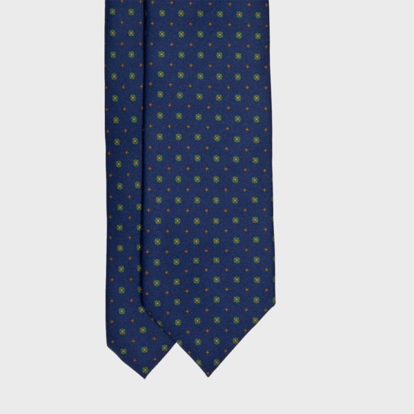 Navy Blue with small flowers Pattern Silk Tie