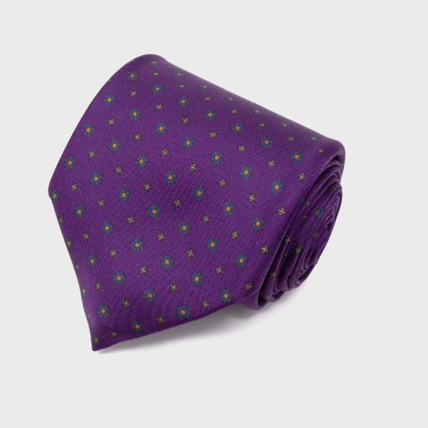 Cravatta In Seta Viola Con Motivo Piccoli Fiori
