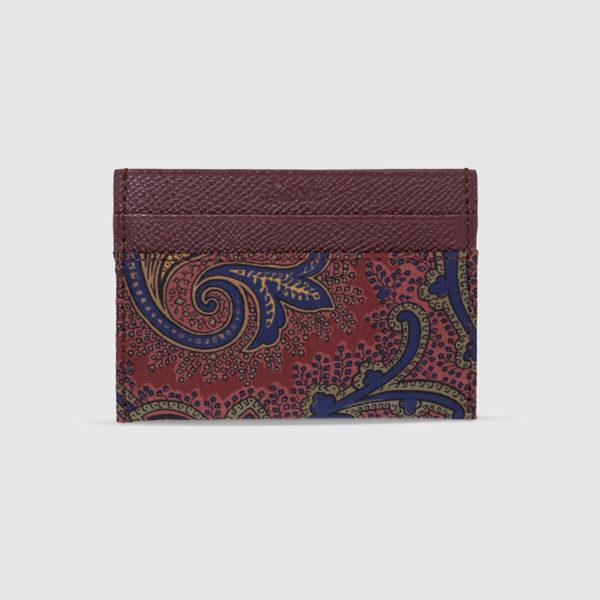 Burgundy Floral Paisley Card Holder
